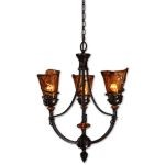 "Vitalia Collection 3-Light 27"" Oil Rubbed Bronze Chandelier with Toffee Art Glass 21226"