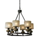"Porano Collection 6-Light 30"" Oil Rubbed Chandelier with Green Glaze and Frosted Glass Shades 21242"