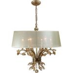 "Alenya Collection 6-Light 29"" Burnished Gold Chandelier with Sheer Drum Shade and Golden Teak Crystal Leaves 21246"
