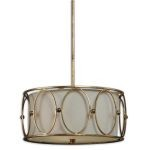 "Ovala Collection 3-Light 20"" Antiqued Gold Leaf Pendant with Beige Linen Drum Shade 21955"