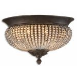 "Cristal De Lisbon 2-Light 15"" Golden Bronze Crystal Flush Mount 22222"