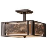 "Quarry Collection 3-Light 15"" Oil Rubbed Bronze Semi-Flush with Ivory Linen and Polished Marble 22268"