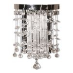 "Fascination Collection 1-Light 13"" Chrome Plated Wall Sconce with Crystal Accents 22445"
