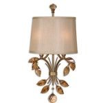 "Alenya Collection 2-Light 22"" Burnished Gold Wall Sconce with Fabric Shade and Golden Teak Crystal Leaves 22487"