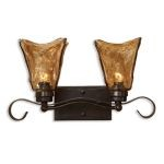 "Vetraio Collection 2-Light 17"" Oil Rubbed Wall Sconce with Toffee Art Glass Shade 22800"