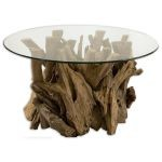Driftwood Collection Glass Top Cocktail Table 25519