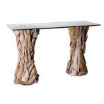 Teak Root Collection Glass Top Console Table 25582