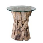 Teak Root Collection Glass Top Lamp Table 25583