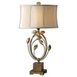 "Alenya Collection 1-Light 16"" Burnished Gold Table Lamp with Champagne Fabric Shade and Golden Teak Crystal Leaves 26337-1"