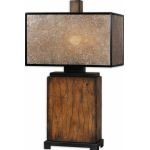 "Sitka Collection 1-Light 28"" Distressed Rustic Mahogany Table Lamp with Rectangular Mica Shade 26757-1"