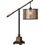 "Sitka Collection 1-Light 35"" Aged Black and Solid Wood Lantern-Style Table Lamp with Natural Mica Shade 26760-1"