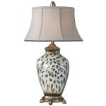"Malawi Collection 1-Light 34"" Cheetah Print Table Lamp 27489"