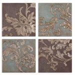 Damask Relief Blocks Collection Wall Art (Set of 4) 35223