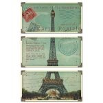 Eiffel Tower Carte Postale Collection Art (Set of 3) 40917