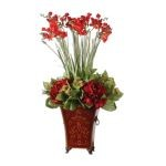 Red Freesia Collection In English Tole Planter 60099