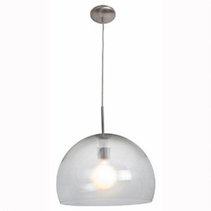 "Acrolite Collection 18"" 1-Light Brushed Steel Pendant with Clear Prismatic Acrylic Glass 23760-1C-BS/APCL"