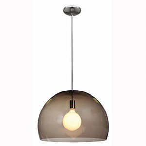 "Acrolite Collection 18"" 1-Light Brushed Steel Pendant with Smoke Acrylic Glass 23760-1R-BS/ASM"