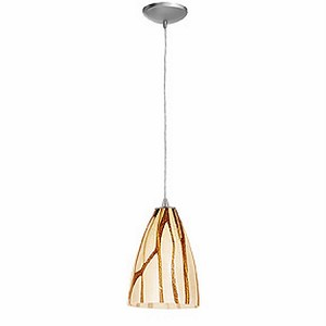 "Tali Safari Collection 7"" 1-Light Brushed Steel Pendant with Lava Glass 28025-2C-BS/LAV"