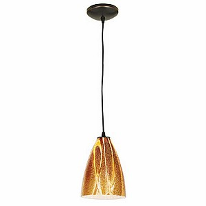 "Tali Safari Collection 7"" 1-Light Oil Rubbed Bronze Pendant with Amazon Glass 28025-2C-ORB/AMZ"