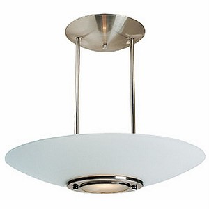 "Argon Collection 21"" 1-Light Brushed Steel Semi-Flush/Pendant with Frosted Glass 50454-BS/FST"
