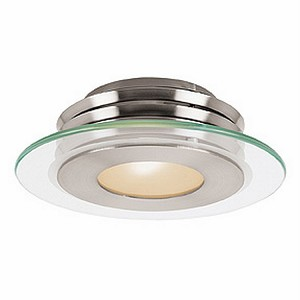 "Helius Collection 12"" 1-Light Brushed Steel Flush Mount with Clear & Frosted Glass 50480-BS/CFR"