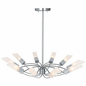 "Solar Collection 33"" 10-Light Brushed Steel Chandelier with Frosted Glass 50510-BS/FST"
