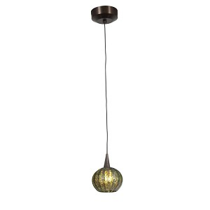 "Zeta Collection 5"" 1-Light Bronze Pendant with Green Ribbed Opaline Glass 94980-BRZ/GRO"