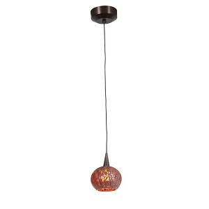 "Zeta Collection 5"" 1-Light Bronze Pendant with Red Ribbed Opaline Glass 94980-BRZ/RRO"