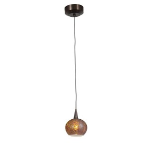"Zeta Collection 5"" 1-Light Bronze Pendant with Silver Amber Opaline Glass 94980-BRZ/SAO"