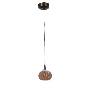 "Zeta Collection 5"" 1-Light Bronze Pendant with Silver Amber Ribbed Opaline Glass 94980-BRZ/SARO"
