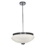 "Onyx Collection 16"" 4-Light Chrome Pendant with Opal Glass 23868-CH/OPL"