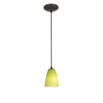"Sydney Inari Silk Collection 5"" 1-Light Oil Rubbed Bronze Pendant with Light Green Glass 28022-1R-ORB/LGR"