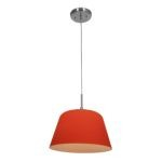 "Aire Collection 8"" 1-Light Brushed Steel Pendant with Orange Glass 50170-BS/ORG"