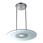 "Helius Collection 20"" 1-Light Brushed Steel Pendant with Clear & Frosted Glass 50484-BS/CFR"