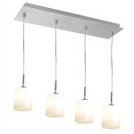 "Leilah Collection 4-Light 28"" Brushed Steel Linear Pendant with White Glass 50964-BS/WH"