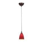 "Alpha Mania Collection 4"" 1-Light Bronze Pendant with Red Glass 90019-BRZ/RED"