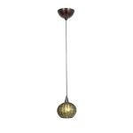 "Alpha Collection 5"" 1-Light Bronze Pendant with Green Ribbed Opaline Glass 90980-BRZ/GRO"