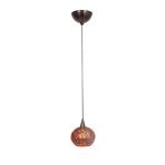 "Alpha Collection 5"" 1-Light Bronze Pendant with Red Ribbed Opaline Glass 90980-BRZ/RRO"