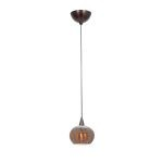 "Alpha Collection 5"" 1-Light Bronze Pendant with Silver Amber Ribbed Opaline Glass 90980-BRZ/SARO"