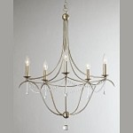 "Metro II Collection 5-Light 28"" Antique Silver Chandelier with Clear Glass Beads and Murano Crystal 425-SA"
