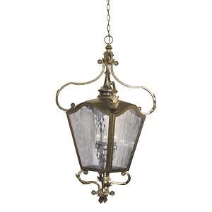"Acadiana Collection 4-Light 31"" Castle Bronze Hanging Lantern with Water Glass 5784-CB"
