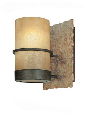 "Bamboo Collection 1-Light 5"" Bronze Wall Sconce with Natural Slate B1841BB"