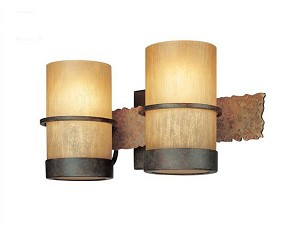 "Bamboo Collection 2-Light 14"" Bronze Bath Light with Natural Slate B1842BB"