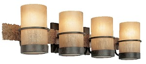 "Bamboo Collection 4-Light 29"" Bronze Bath Light with Natural Slate B1844BB"