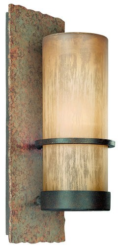 "Bamboo Collection 1-Light 14"" Bronze Indoor/Outdoor Energy Efficient Wall Sconce with Natural Slate BF1851BB"