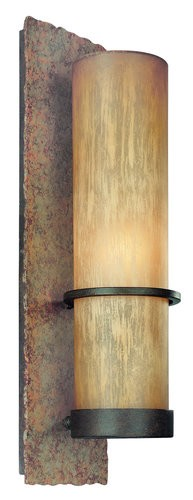 "Bamboo Collection 1-Light 19"" Bronze Indoor/Outdoor Energy Efficient Wall Sconce with Natural Slate BF1852BB"