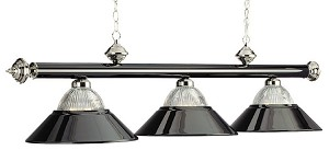 "Halophane Collection 3-Light 54"" Black Chrome Billiard Fixture B48-RIB BKCH/BK"