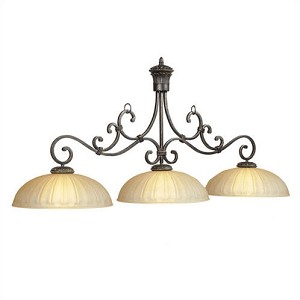 "Barcelona Collection 3-Light 60"" Sierra Black Billiard/Island Light with Bronze Speckled Glass BAR-B60"