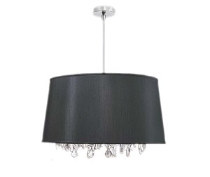 "Shaded Light Design 6-Light 21"" Chrome Hanging Crystal Pendant Chandelier with Fabric Shade BAR2111"