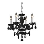 "Princeton Collection 4-Light 17"" Black Glass Mini Chandelier with Crystal 7834D17B/RC"